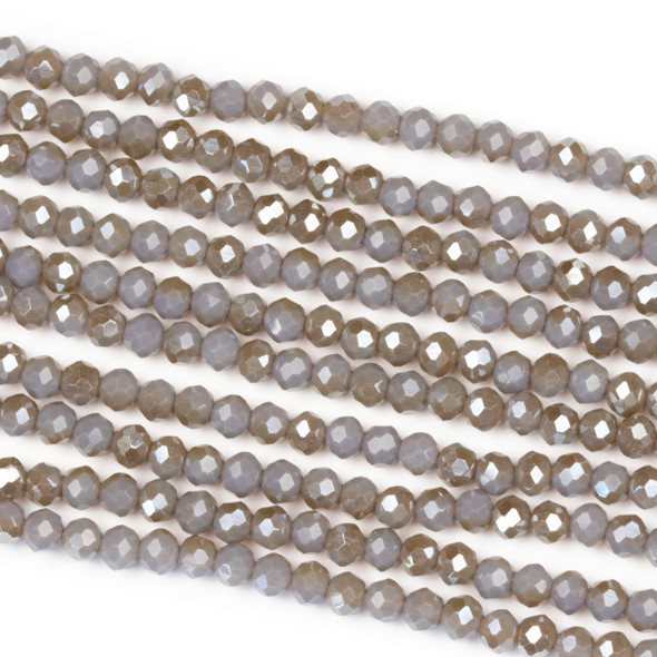 Crystal 2x3mm Opaque Taupe Kissed Stormy Grey Rondelle Beads with a Silver AB finish - Approx. 15.5 inch strand
