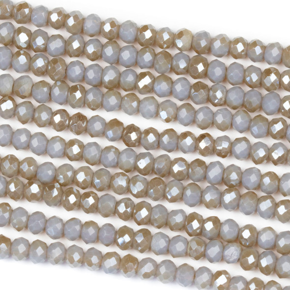 Crystal 3x4mm Opaque Taupe Kissed Stormy Grey Rondelle Beads with a Silver AB finish - Approx. 15.5 inch strand