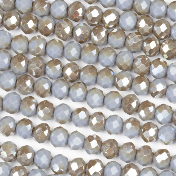 Crystal 4x6mm Opaque Taupe Kissed Stormy Grey Rondelle Beads with a Silver AB finish - Approx. 15.5 inch strand