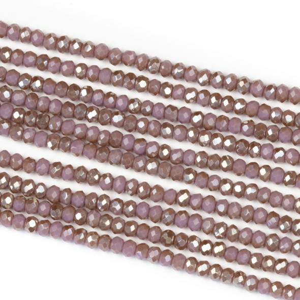 Crystal 2x2mm Opaque Taupe Kissed Hyacinth Rondelle Beads - Approx. 15.5 inch strand