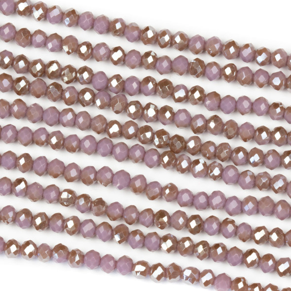 Crystal 2x3mm Opaque Taupe Kissed Hyacinth Rondelle Beads - Approx. 15.5 inch strand