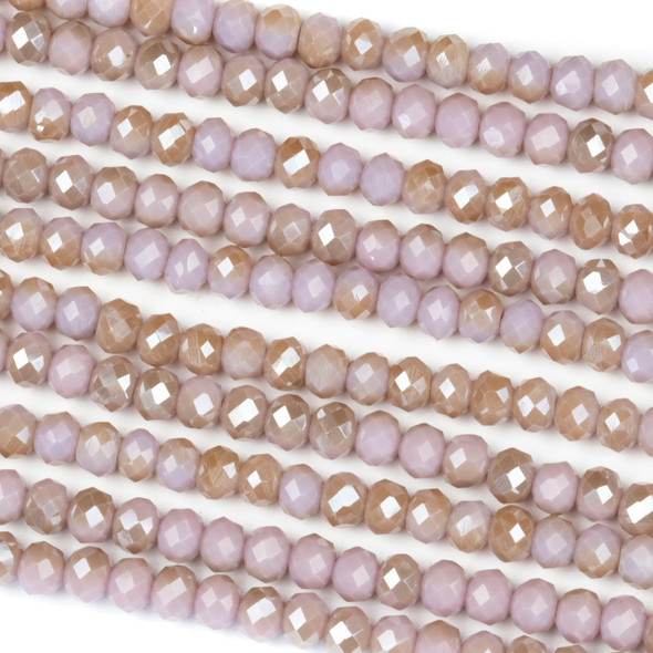 Crystal 3x4mm Opaque Taupe Kissed Light Hyacinth Rondelle Beads - Approx. 15.5 inch strand
