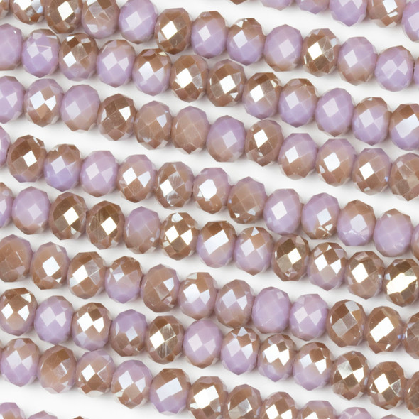 Crystal 4x6mm Opaque Taupe Kissed Hyacinth Rondelle Beads - Approx. 15.5 inch strand