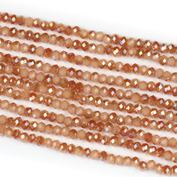 Crystal 2x2mm Opaque Amber Kissed Pumpkin Rondelle Beads with an AB finish - Approx. 15.5 inch strand