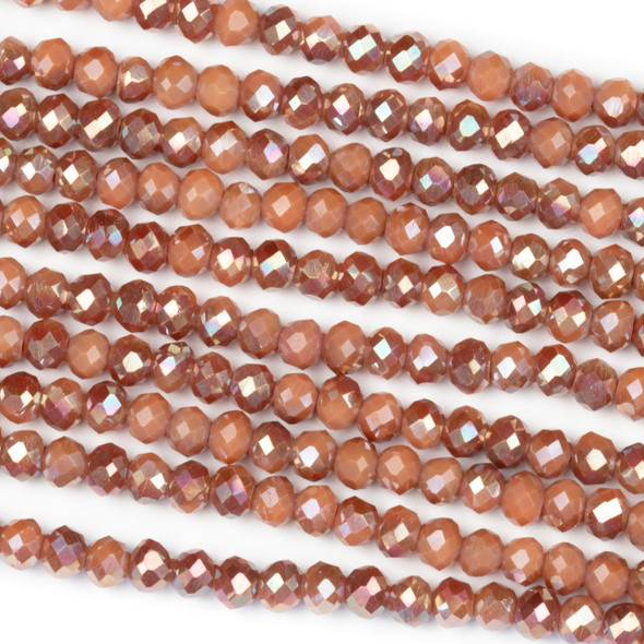 Crystal 3x4mm Opaque Amber Kissed Nutmeg Rondelle Beads with an AB finish - Approx. 15.5 inch strand