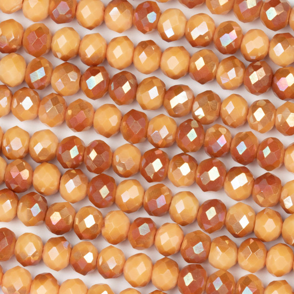 Crystal 4x6mm Opaque Amber Kissed Pumpkin Rondelle Beads with an AB finish - Approx. 15.5 inch strand