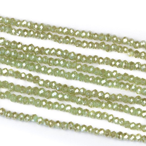 Crystal 2x2mm Opaque Taupe Kissed Basil Green Rondelle Beads with a Silver AB finish - Approx. 15.5 inch strand