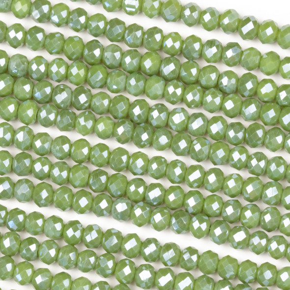 Crystal 3x4mm Opaque Basil Green Rondelle Beads with a Silver AB finish - Approx. 15.5 inch strand