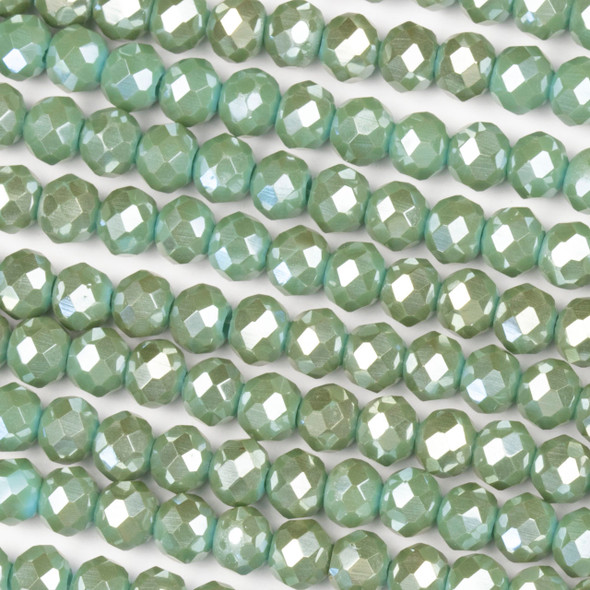 Crystal 4x6mm Opaque Taupe Kissed Sage Green Rondelle Beads with a Silver AB finish - Approx. 15.5 inch strand