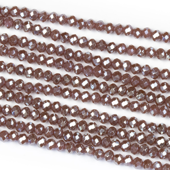 Crystal 2x3mm Opaque Dark Vintage Rose Rondelle Beads with a Silver AB finish - Approx. 15.5 inch strand