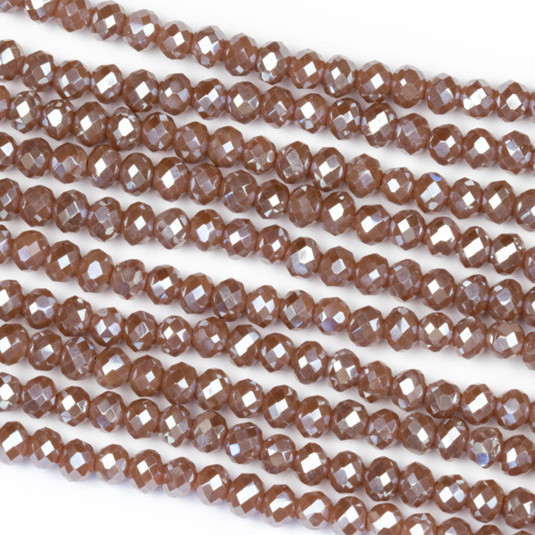 Crystal 3x4mm Opaque Dark Vintage Rose Rondelle Beads with a Silver AB finish - Approx. 15.5 inch strand