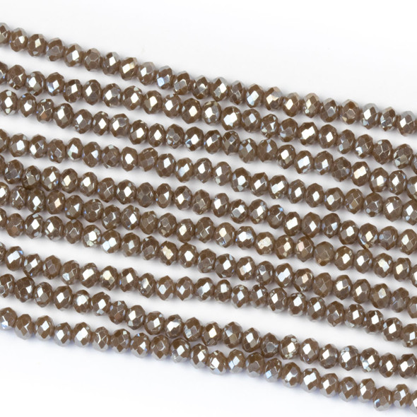 Crystal 2x2mm Opaque Taupe Rondelle Beads with a Silver AB finish - Approx. 15.5 inch strand