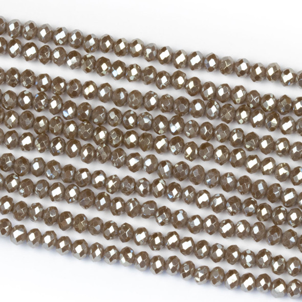 Crystal 2x3mm Opaque Taupe Rondelle Beads with a Silver AB finish - Approx. 15.5 inch strand