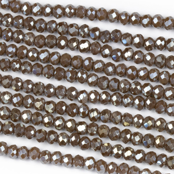 Crystal 3x4mm Opaque Taupe Rondelle Beads with a Silver AB finish - Approx. 15.5 inch strand