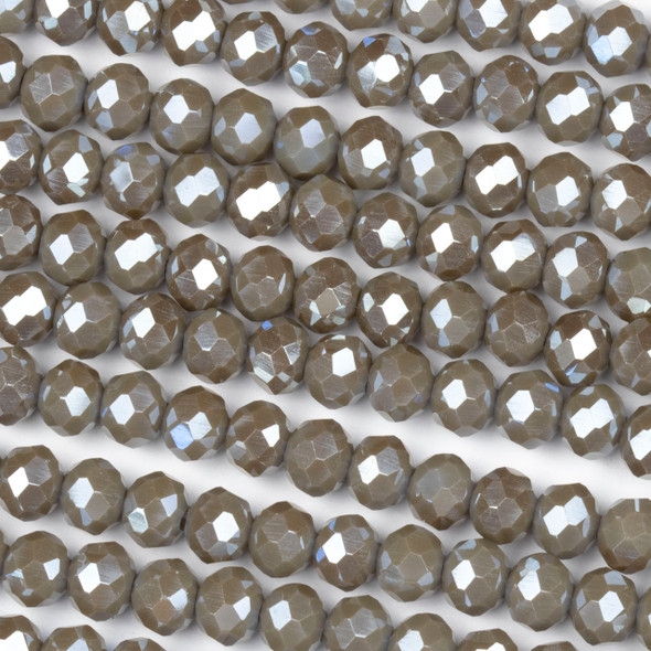 Crystal 4x6mm Opaque Taupe Rondelle Beads with a Silver AB finish - Approx. 15.5 inch strand