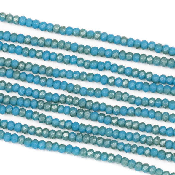 Crystal 2x2mm Opaque Matte Olympic Blue Rondelle Beads - Approx. 15.5 inch strand
