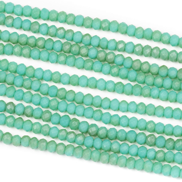 Crystal 2x3mm Opaque Matte Taupe Kissed Jade Green Rondelle Beads - Approx. 15.5 inch strand