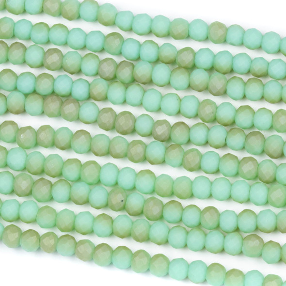 Crystal 3x4mm Opaque Matte Taupe Kissed Light Jade Green Rondelle Beads - Approx. 15.5 inch strand