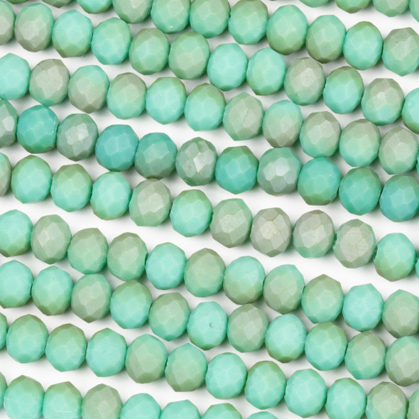 Crystal 4x6mm Opaque Matte Taupe Kissed Jade Green Rondelle Beads - Approx. 15.5 inch strand