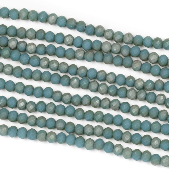 Crystal 2x3mm Opaque Matte Taupe Kissed Teal Rondelle Beads - Approx. 15.5 inch strand
