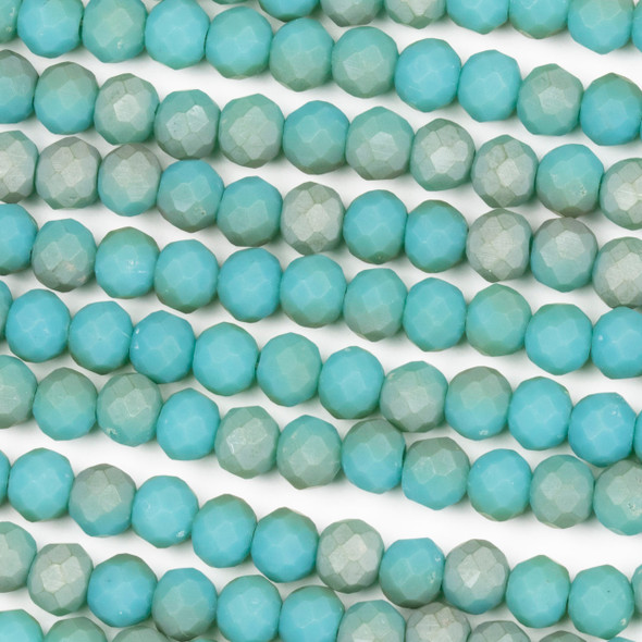 Crystal 4x6mm Opaque Matte Taupe Kissed Teal Rondelle Beads - Approx. 15.5 inch strand