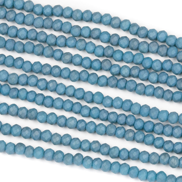 Crystal 2x3mm Opaque Matte Lakeside Blue Rondelle Beads - Approx. 15.5 inch strand