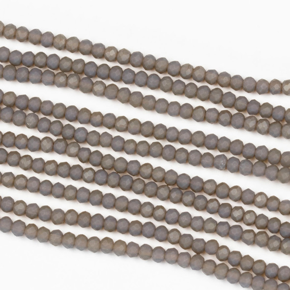 Crystal 2x2mm Opaque Matte Fossil Grey Rondelle Beads - Approx. 15.5 inch strand