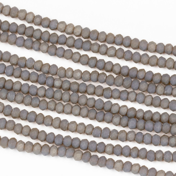 Crystal 2x3mm Opaque Matte Fossil Grey Rondelle Beads - Approx. 15.5 inch strand