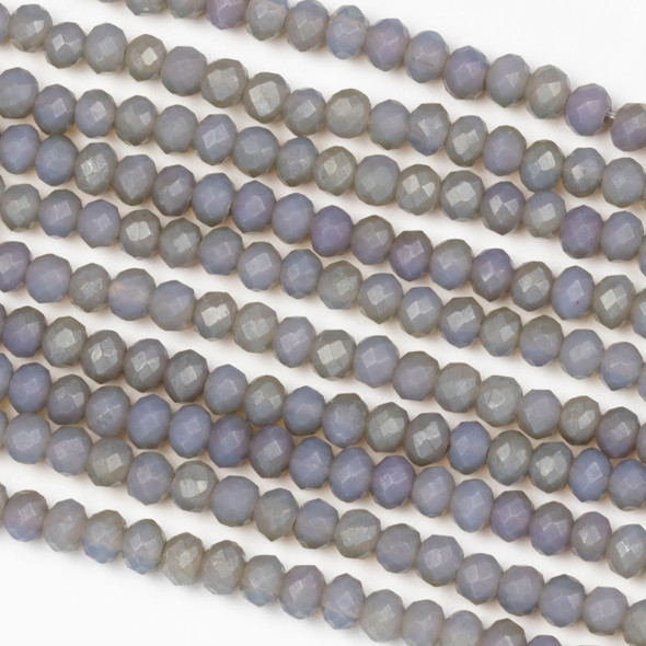 Crystal 3x4mm Opaque Matte Fossil Grey Rondelle Beads - Approx. 15.5 inch strand