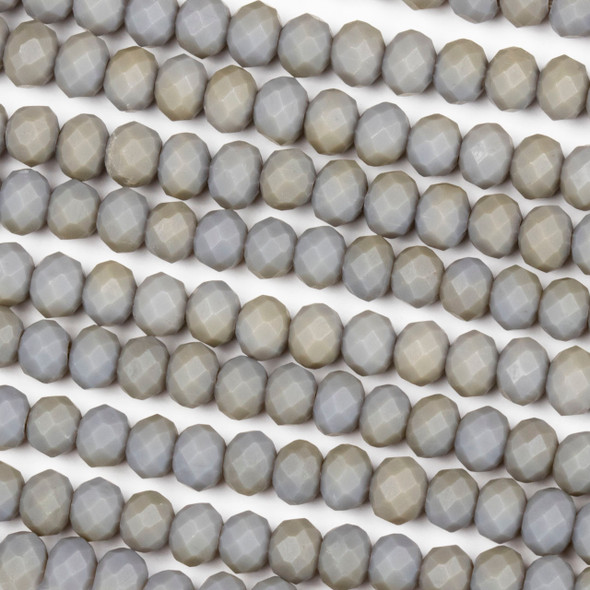 Crystal 4x6mm Opaque Matte Fossil Grey Rondelle Beads - Approx. 15.5 inch strand