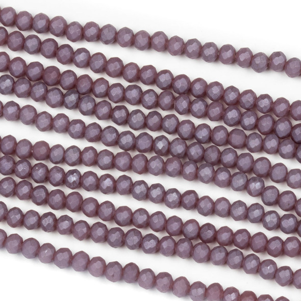 Crystal 2x3mm Opaque Matte Wisteria Purple Rondelle Beads - Approx. 15.5 inch strand