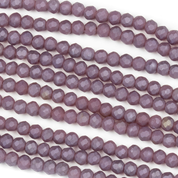 Crystal 3x4mm Opaque Matte Wisteria Purple Rondelle Beads - Approx. 15.5 inch strand