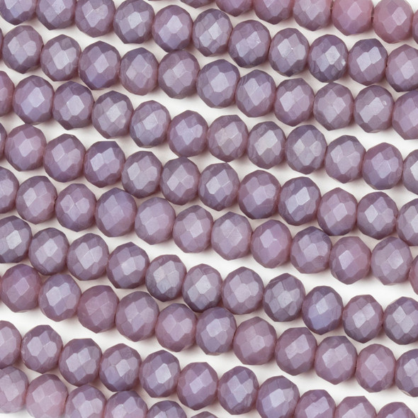Crystal 4x6mm Opaque Matte Wisteria Purple Rondelle Beads - Approx. 15.5 inch strand