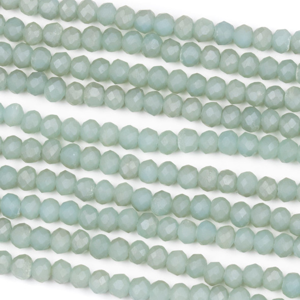Crystal 3x4mm Opaque Matte Mint Green Rondelle Beads - Approx. 15.5 inch strand