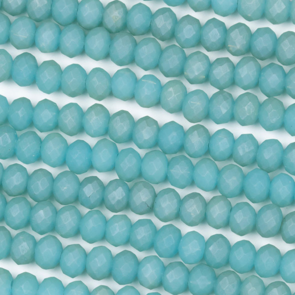 Crystal 4x6mm Opaque Matte Blue Mint Rondelle Beads - Approx. 15.5 inch strand