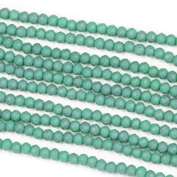 Crystal 2x3mm Opaque Matte Turquoise Rondelle Beads - Approx. 15.5 inch strand