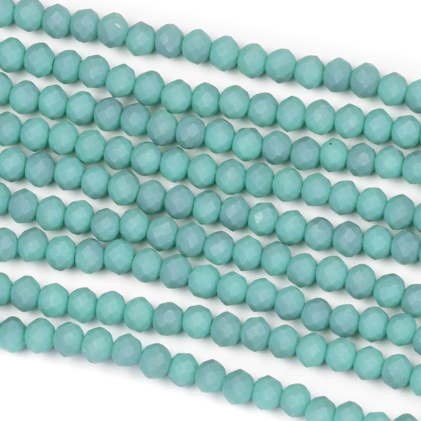 Crystal 3x4mm Opaque Matte Turquoise Rondelle Beads - Approx. 15.5 inch strand