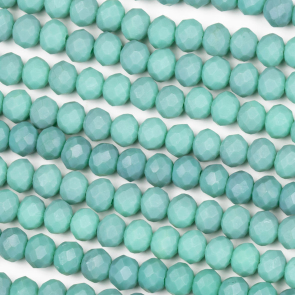 Crystal 4x6mm Opaque Matte Turquoise Rondelle Beads - Approx. 15.5 inch strand
