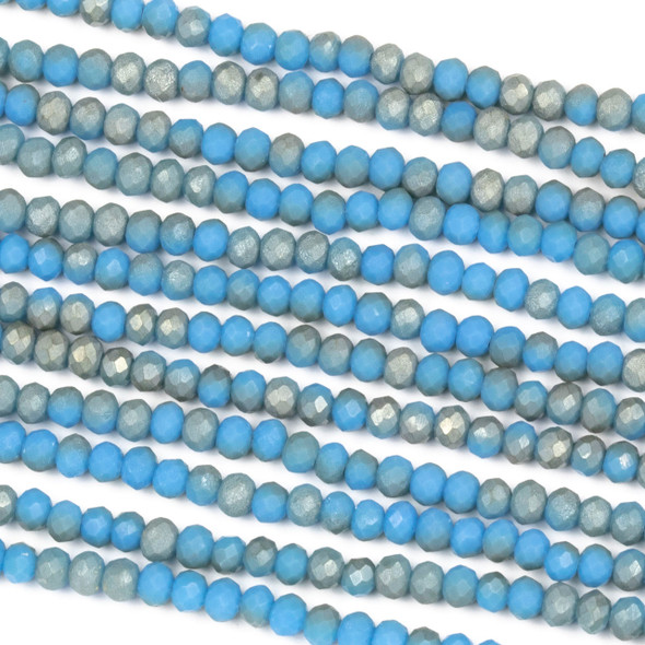 Crystal 2x3mm Opaque Matte Taupe Kissed Carolina Blue Rondelle Beads - Approx. 15.5 inch strand