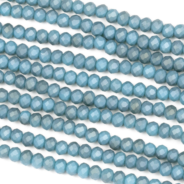 Crystal 3x4mm Opaque Matte Denim Blue Rondelle Beads - Approx. 15.5 inch strand