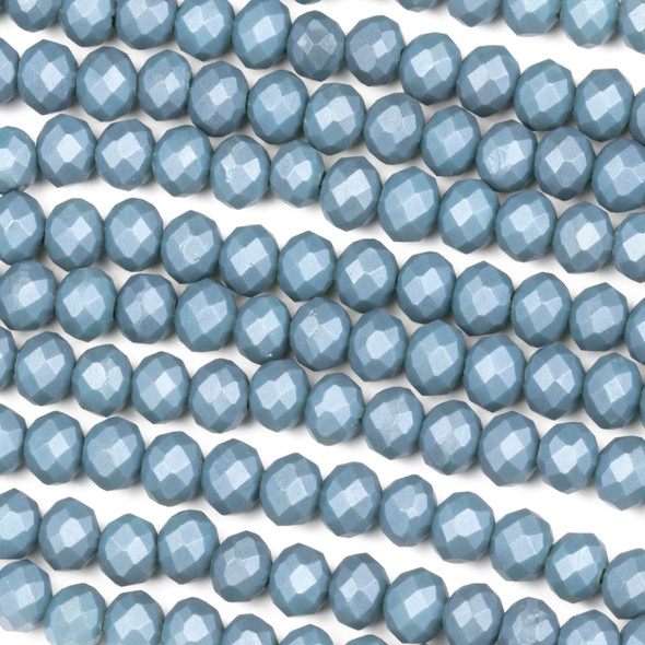 Crystal 4x6mm Opaque Matte Denim Blue Rondelle Beads - Approx. 15.5 inch strand