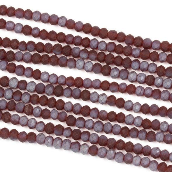Crystal 2x3mm Opaque Matte Slate Kissed Deep Cherry Rondelle Beads - Approx. 15.5 inch strand