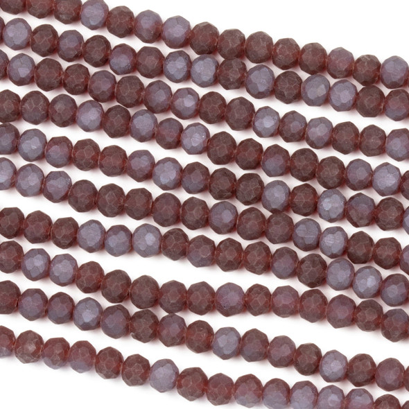 Crystal 3x4mm Opaque Matte Slate Kissed Deep Cherry Red Rondelle Beads - Approx. 15.5 inch strand