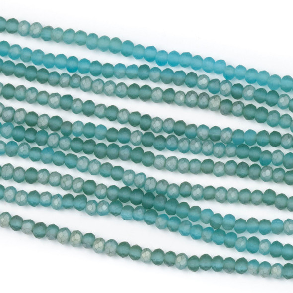 Crystal 2x2mm Matte Viking Blue Rondelle Beads - Approx. 15.5 inch strand