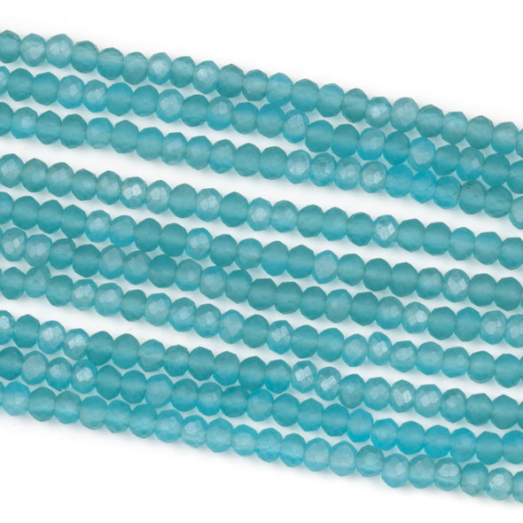 Crystal 2x3mm Matte Viking Blue Rondelle Beads - Approx. 15.5 inch strand