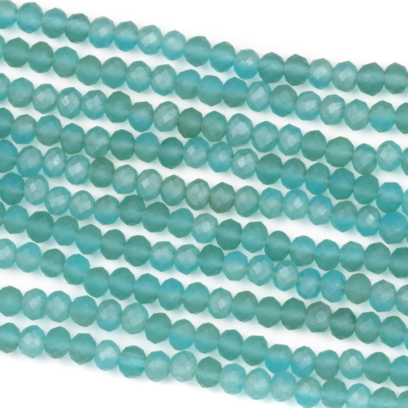 Crystal 3x4mm Matte Viking Blue Rondelle Beads - Approx. 15.5 inch strand