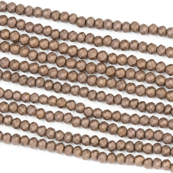 Crystal 2x3mm Opaque Matte Vintage Brown Rondelle Beads - Approx. 15.5 inch strand