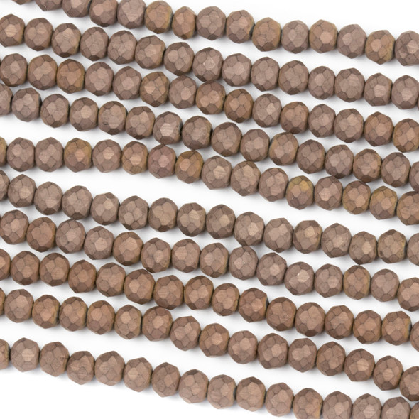 Crystal 3x4mm Opaque Matte Vintage Brown Rondelle Beads - Approx. 15.5 inch strand