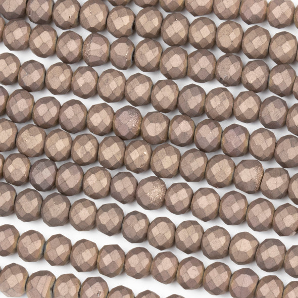 Crystal 4x6mm Opaque Matte Vintage Brown Rondelle Beads - Approx. 15.5 inch strand