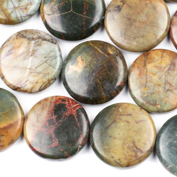 Red Cherry Creek Jasper 30mm Coin Beads - 15 inch strand